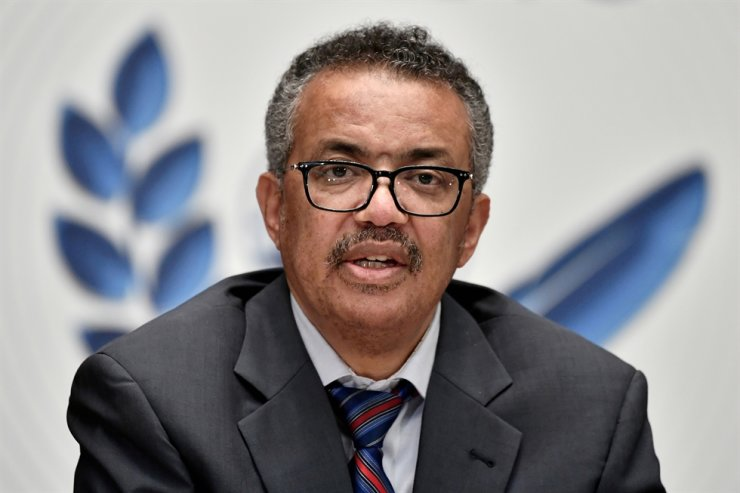 World Health Organization Director-General (WHO) Tedros Adhanom Ghebreyesus attends a news conference organized by Geneva Association of United Nations Correspondents amid the COVID-19 pandemic at the WHO headquarters in Geneva, Switzerland, July 3, 2020. The WHO approved a COVID-19 vaccine from China's state-owned drug maker Sinopharm for emergency use Friday, Reuters-Yonhap