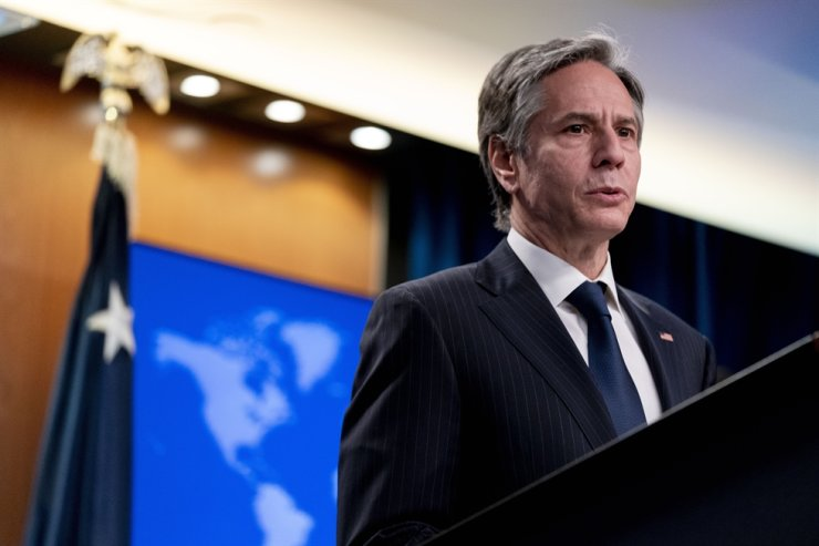 U.S. Secretary of State Antony Blinken speaks at a news conference to announce the annual International Religious Freedom Report at the State Department in Washington, May 12. AP-Yonhap