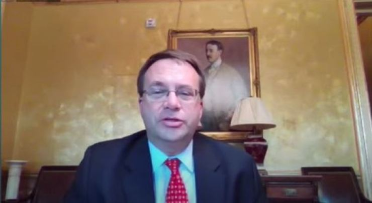 Edgard Kagan, a senior director on the National Security Council of the White House, speaks during an online forum, 'The Quad and Korea,' held by the Chey Institute for Advanced Studies, Friday. Captured from live streaming