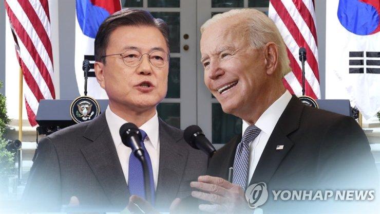 President Moon Jae-in, left, and U.S. President Joe Biden