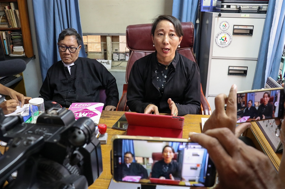 Myanmar's ousted leader Aung San Suu Kyi, former president Win Myint and doctor Myo Aung appear at a court in Naypyitaw, Myanmar, May 24, in this still image taken from video. Reuters-Yohap