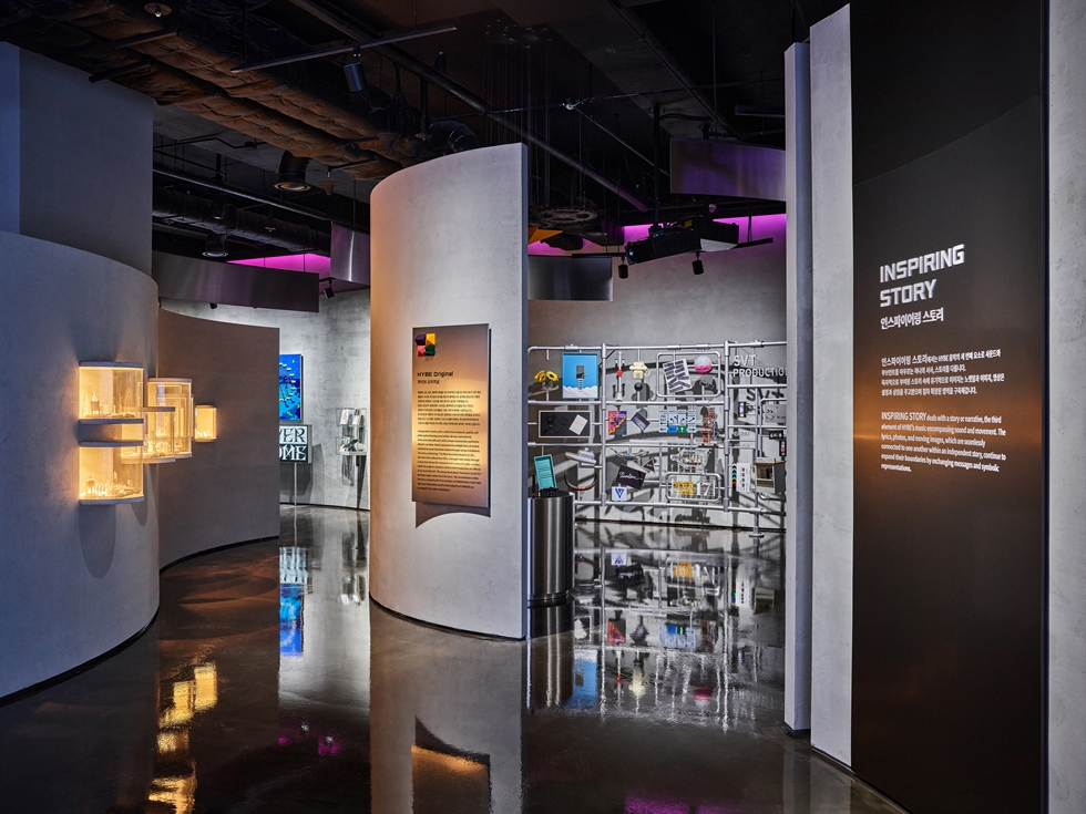 Outfits worn by BTS members are displayed in HYBE INSIGHT, a cultural complex exhibiting the content of HYBE's artists, in central Seoul. Courtesy of HYBE INSIGHT