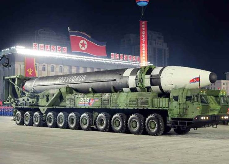 What is assumed to be a new intercontinental ballistic missile is displayed during a ceremony to mark the 75th anniversary of North Korea's ruling Workers' Party of Korea in this capture image of Korea Central Television broadcasting, Oct. 10, 2020. Yonhap