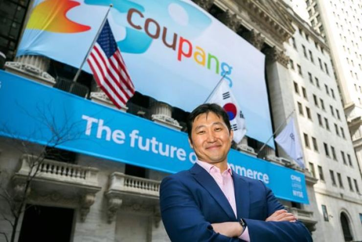 Coupang founder Kim Bom poses after his company debuted on the New York Stock Exchange in March. Yonhap