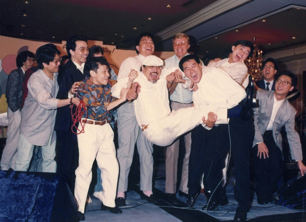 In this photo provided by Radio Television Hong Kong, Ray Cordeiro, also known as Uncle Ray, finishes his last show 'All The Way with Ray' at the studio in RTHK, the broadcaster in Hong Kong on Feb.15, 2021. AP