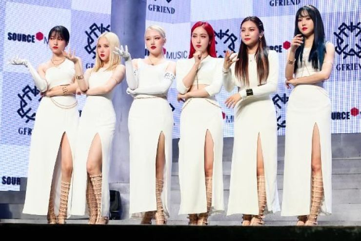 From left, Sowon, Eunha, Yerin, SinB, Umji and Yuju of K-pop girl group GFriend pose during an album showcase in Seoul on July 13, 2020. Korea Times file