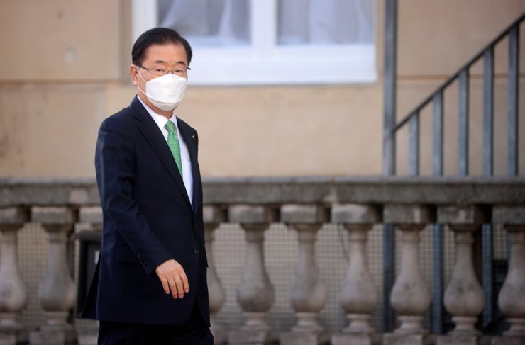 South Korea's Foreign Minister Chung Eui-yong arrives as G7 foreign ministers meet at Lancaster House in London, Britain, May 5, 2021. REUTERS-Yonhap