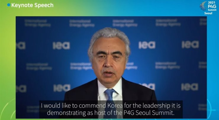 International Energy Agency Executive Director Fatih Birol speaks during a session on energy during the P4G Seoul Summit, which was streamed online, Monday. Captured from P4G Seoul Summit live streaming