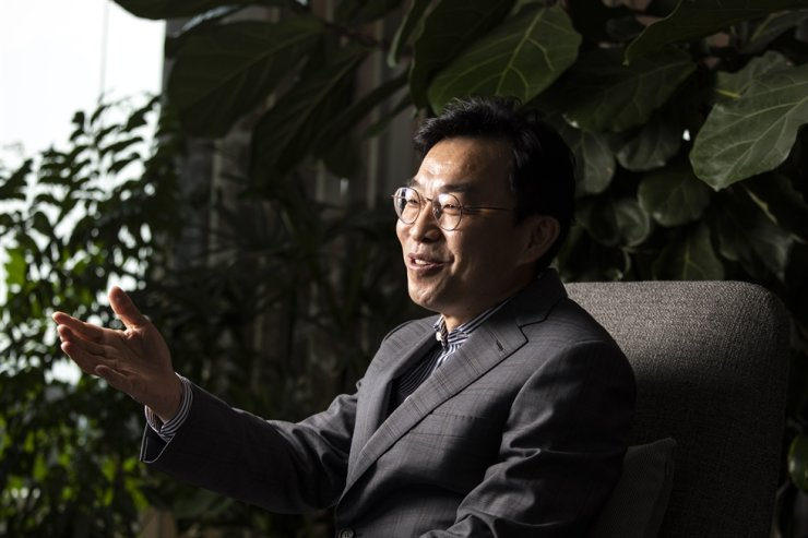 IMM Private Equity Chief Investment Officer Kim Young-ho speaks during an interview with The Korea Times at the private equity firm's head office in Seoul, May 26. Korea Times photo by Choi Won-suk