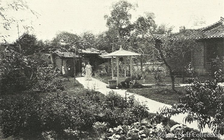 Mrs. Emberley and her garden in Seoul, circa 1900.  Robert Neff Collection