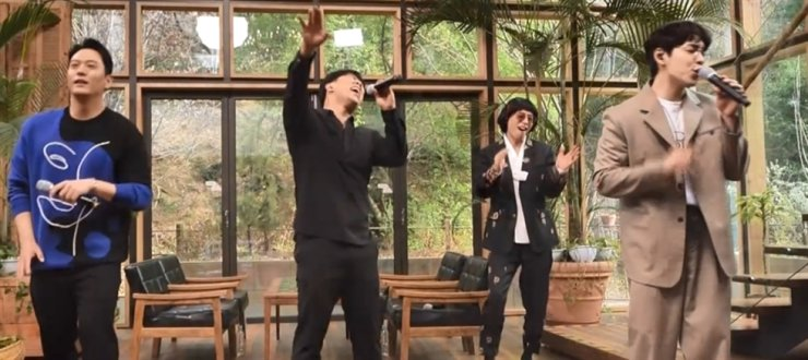 A scene from 'Hangout with Yoo,' featuring a performance by SG Wannabe / Courtesy of MBC