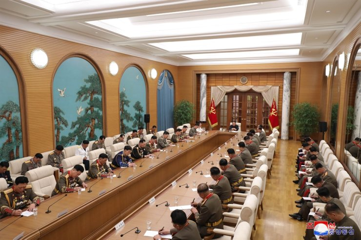 North Korean leader Kim Jong-un, presiding over a Central Military Commission meeting of the ruling Workers' Party, called for a 'high alert posture' against the 'fast-changing' situation on the Korean Peninsula, state media reported Saturday. KCNA-Yonhap