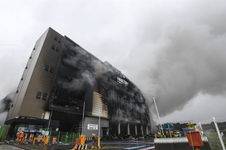 Seen is Coupang's warehouse that was destroyed by a fire in Icheon, southeast of Seoul, June 18. Korea Times photo by Lee Han-ho