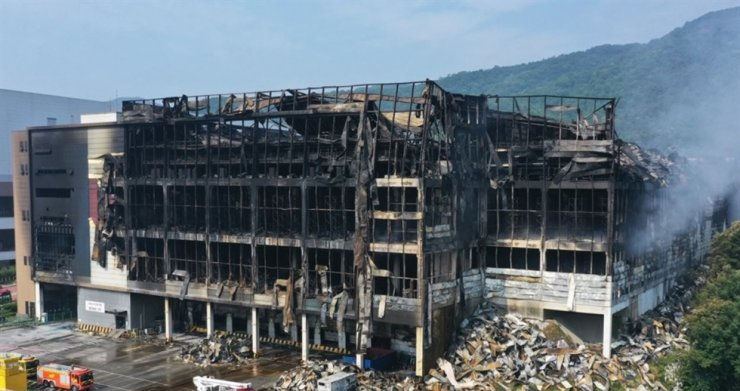Fire damage at a Coupang logistics center in Icheon, Gyeonggi Province, is seen in this photo taken on June 20. Yonhap