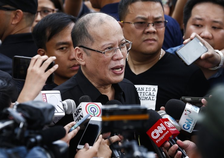 Former Filipino president Benigno Aquino III speaks to media as he joins a demonstration to mark the 31st anniversary of the EDSA People Power Revolution in Quezon City, east of Manila, Philippines, in this 2017 February file photo. EPA-Yonhap