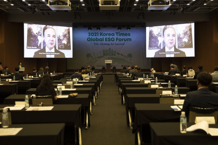 McKinsey & Company Global Managing Partner Kevin Sneader speaks in a pre-recorded video address during the 2021 Korea Times Global ESG Forum. Korea Times photo by Shim Hyun-chul