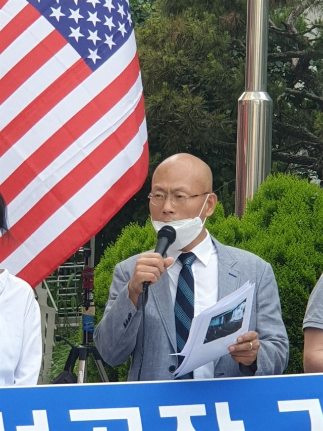 Members of the Citizens for Unveiling Confucius Institutes (CUCI) hold an open press conference in front of the Chinese Embassy in Seoul on June 2. They accused Confucius Institutes of brainwashing young Koreans with Chinese Communist Party's ideology, urging all CIs in Korea to close. Courtesy of CUCI