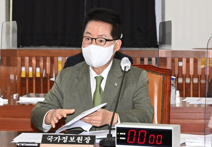 National Intelligence Service Chief Park Jie-won speaks during a meeting with lawmakers at the National Assembly in Seoul, Wednesday. Yonhap