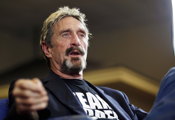 In this Sept. 9, 2015, file photo, John McAfee announces his candidacy for president in Opelika, Ala. McAfee, the outlandish security software pioneer who tried to live life as a hedonistic outsider while running from a host of legal troubles, was found dead in his jail cell near Barcelona, Spain, June 23. AP-Yonhap