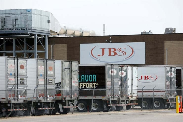 In this June 2 file photo, the JBS meat plant is viewed in Plainwell, Michigan. AFP-Yonhap