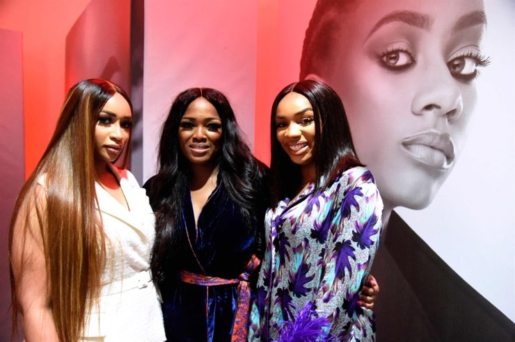 Founder of Beth Modeling Agency, Elizabeth Elohor, center, pose with friends during a reception to mark the launch of the Future Face of Africa in Lagos, June 5. AFP-Yonhap