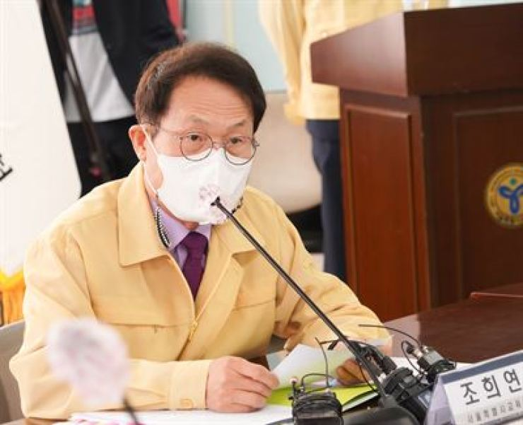 Cho Hee-yeon, superintendent of the Seoul Metropolitan Office of Education, speaks during a press briefing at his office, Thursday. Yonhap