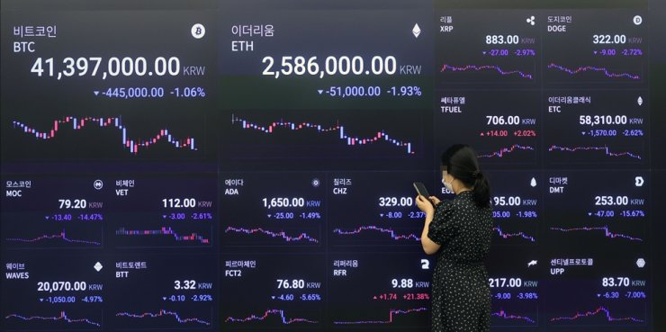 An electronic signboard at Upbit headquarters in Seoul shows the prices of cryptocurrencies, Monday. Yonhap
