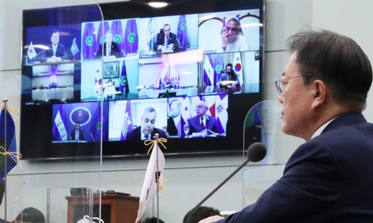 President Moon Jae-in speaks at the virtual South Korea-Central American Integration System summit, June 25. Yonhap