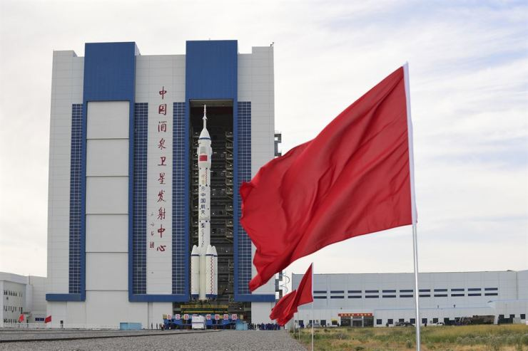 The Long March-2F Y12 rocket carrying the Shenzhou-12 spaceship is transferred to the launching area at the Jiuquan Satellite Launch Center in northwest China, Wednesday, in this photo released by Xinhua News Agency. AP-Yonhap
