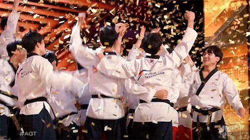 Male members of the World Taekwondo demonstration team perform synchronized high-flying kicks during their audition at NBC's 'America's Got Talent.' Courtesy of World Taekwondo