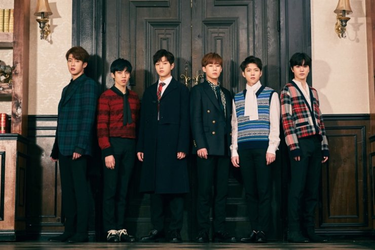 From left, Sungyeol, Dongwoo, L, Sungkyu, Woohyun and Sungjong of K-pop group INFINITE pose for photos. Courtesy of Woollim Entertainment