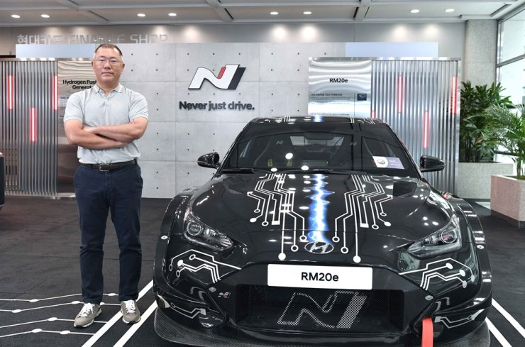Hyundai Motor Group Chairman Chung Euisun stands next to the company's electric sports car prototype RM20e. Courtesy of Hyundai Motor