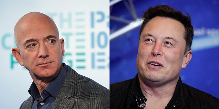 Amazon CEO Jeff Bezos, left, and SpaceX owner and Tesla CEO Elon Musk / AP-Yonhap