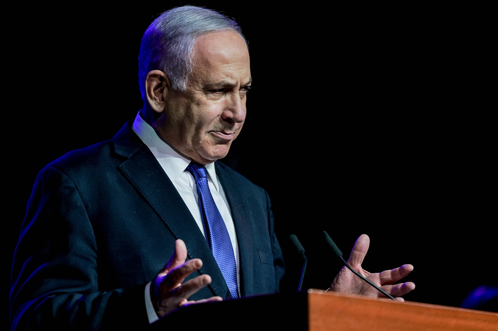 Israeli Prime Minister Benjamin Netanyahu speaks at a ceremony showing appreciation to the health care system for their contribution to the fight against the coronavirus, Jerusalem, June 6. Prime Minister Benjamin Netanyahu said on Sunday a newly formed Israeli coalition that is poised to unseat him was the result of 'the greatest election fraud' in the history of democracy. AP-Yonhap
