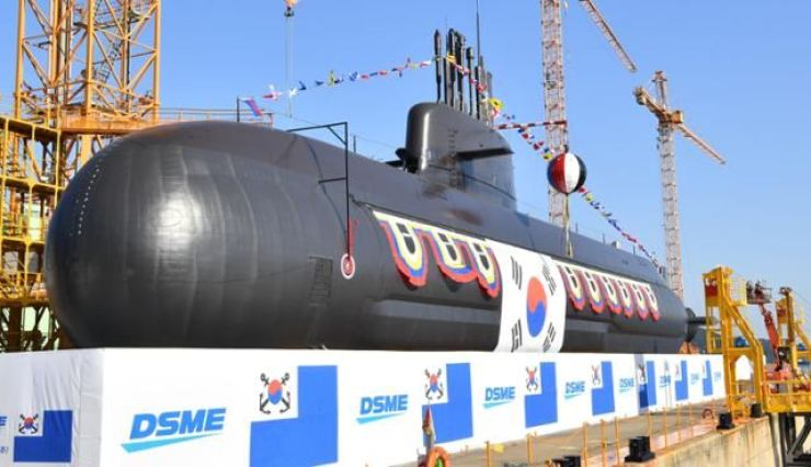 In this 2020 November file photo, Ahn Mu, South Korea's new 3,000-ton-class indigenous submarine, is anchored at the Okpo Shipyard of Daewoo Shipbuilding and Marine Engineering in the southeastern city of Geoje. Yonhap