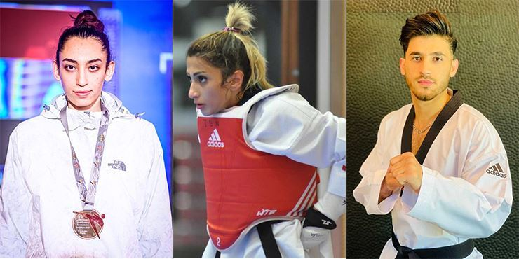 From left, Kimia Alizadeh Zonouzi, Dina Pouryounes Langeroudi and Abdullah Sediqi have been selected as members of the Refugee Olympic Team for the upcoming Tokyo Games scheduled to begin next month. Courtesy of World Taekwondo
