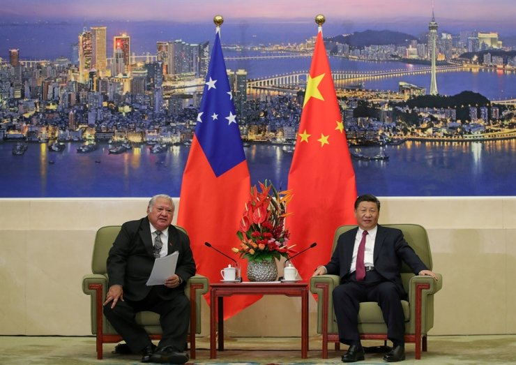 Samoa's Prime Minister Tuilaepa Lupesoliai Sailele Malielegaoi meets with China's President Xi Jinping at the Great Hall of the People in Beijing, Sept. 18, 2018. Reuters-Yonhap
