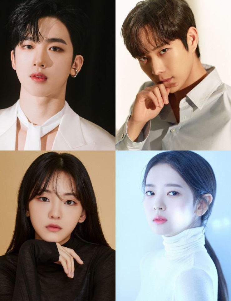 Actors Kim Yo-han, from left, clockwise, Kim Young-dae, Hwang Boreumbyeol, and Jo Yi-hyun will play lead roles in 'School 2021.' Courtesy of OUI Enterainment, Outer Korea, Artist Company and Mystic Story
