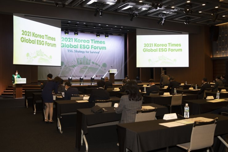 The 2021 Korea Times Global ESG Forum is getting ready to start at the KCCI building in Seoul, Thursday. Korea Times photo by Choi Won-suk