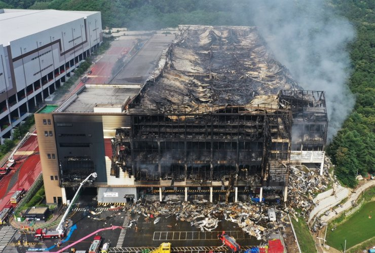 A Coupang warehouse in Icheon, Gyeonggi Province, which was ravaged by a fire that broke out Thursday, is seen in this photo, Saturday. Yonhap