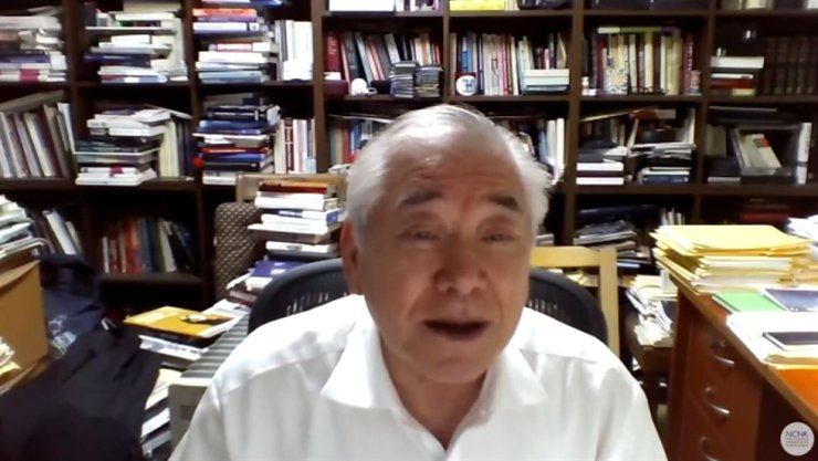 Moon Chung-in, chairman of the Sejong Institute and former special advisor to President Moon Jae-in for foreign and national security affairs, speaks during a webinar 'Nurturing Negotiations: How to Jumpstart and Sustain Diplomacy with North Korea,' co-hosted by the Washington-based National Committee on North Korea and the Seoul-based East Asia Foundation, Wednesday. Captured from YouTube