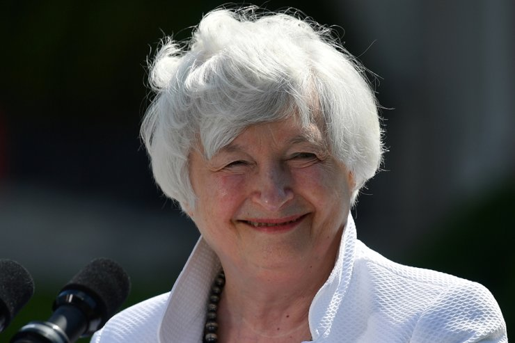U.S. Treasury Secretary Janet Yellen reacts during a news conference, after attending the G7 finance ministers meeting, at Winfield House in London, Britain, June 5. Reuters-Yonhap