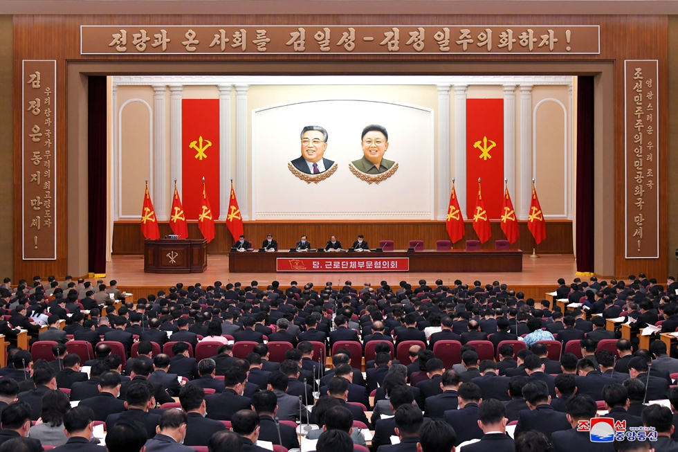 North Korean leader Kim Jong-un speaks during the sixth Conference of Cell Secretaries of the Workers' Party in Pyongyang, April 6, in this photo released by the North's official Korean Central News Agency. Yonhap