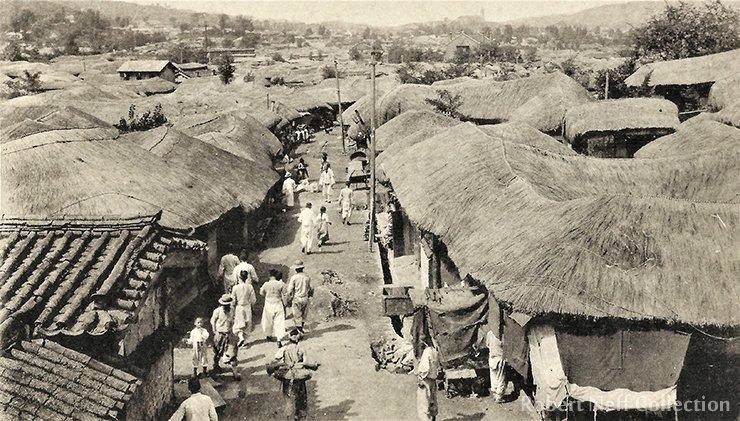 A busy narrow street in Seoul circa 1910-1920s. Robert Neff Collection