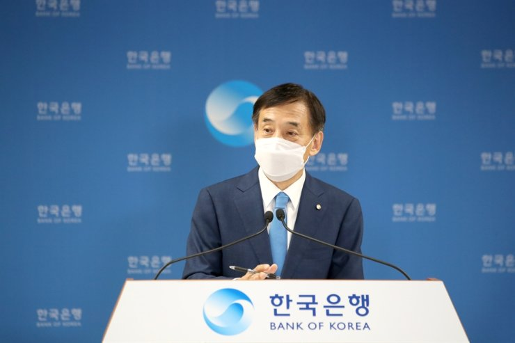 Bank of Korea Governor Lee Ju-yeol speaks during a press conference after holding a monetary policy board meeting at its headquarters in Seoul, Thursday. Courtesy of Bank of Korea