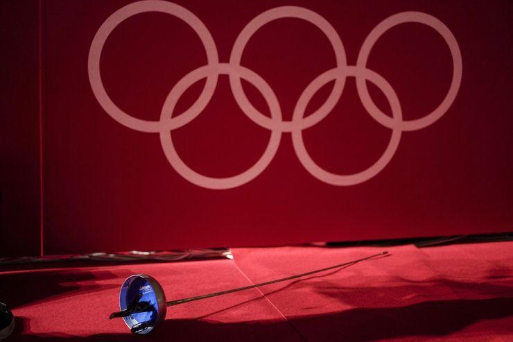 An epee is left next to a fencing piste at the Makuhari Messe fencing arena during equipment tests ahead of the Summer Olympics, July 21, in Chiba, Japan. AP-Yonhap