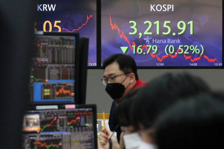 Dealers work at Hana Bank headquarters in central Seoul, as electric trading board shows the benchmark KOSPI having ended at 3,215.91 points, down 0.52 percent from the previous session, Wednesday. Yonhap