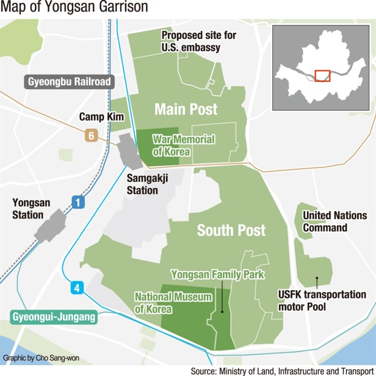 Map of Yongsan Garrison in central Seoul