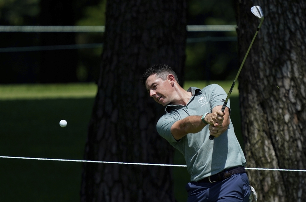 Kim Si-woo plays a tee shot from the 12th hole during a practice round of the men's golf event at Kasumigaseki Country Club in Kawagoe, Japan. AP-Yonhap