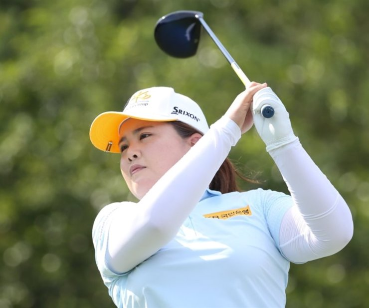 Golfer Park In-bee hits a tee shot during the first round of the Jeju Samdasoo Masters, held at the southern resort island, July 30, 2020. Yonhap